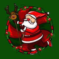原创元素圣诞老人麋鹿仗