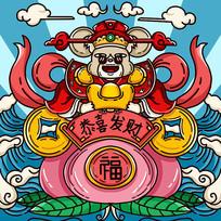 原创元素鼠年财神鼠寿桃