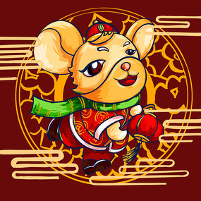 原创元素鼠年财神挑灯鼠